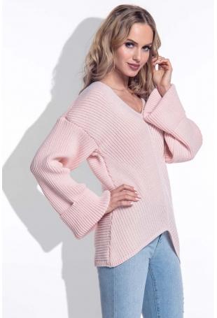 Pudrowy Sweter w Serek z Rozkloszowanymi Rękawami