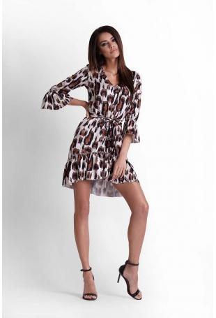 Oversizowa Sukienka w Zwierzęcy Deseń z Falbankami