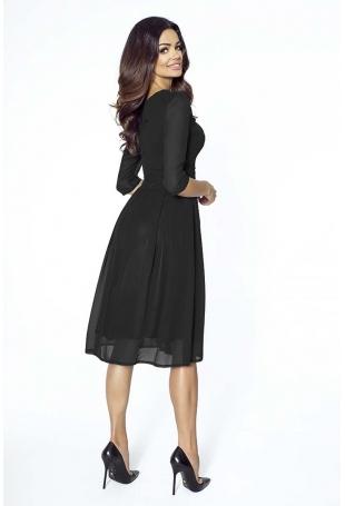 Wieczorowa Czarna Sukienka Szerokim Dołem