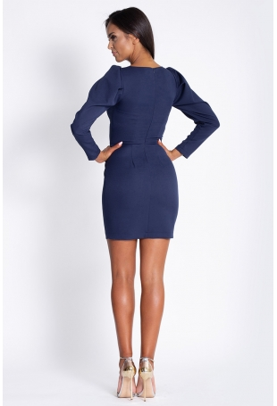 Granatowa Koktajlowa Mini Sukienka z Ozdobnym Rękawem