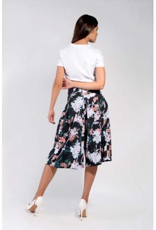 Kwiatowe Spódnico-Spodnie z Asymetrycznym Zapięciem