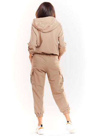 Beżowe Dresowe Spodnie z Kieszeniami Typu Cargo