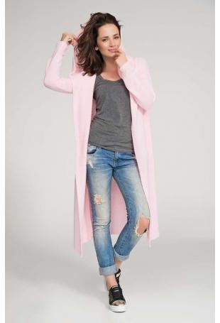 Różowy Sweter Długi bez Zapięcia z Kapturem