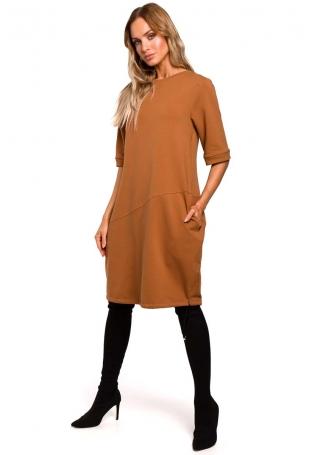 Kamelowa Dzianinowa Sukienka Bombka z Krótkim Rękawem