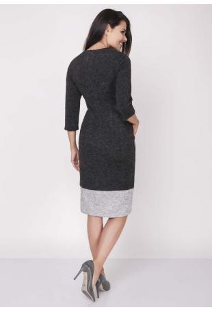 Czarno Szara Dopasowana Sukienka z Kontrastowymi Detalami