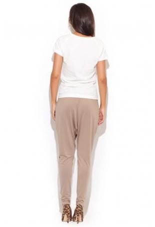 Beżowe Długie Spodnie z Obniżonym Krokiem