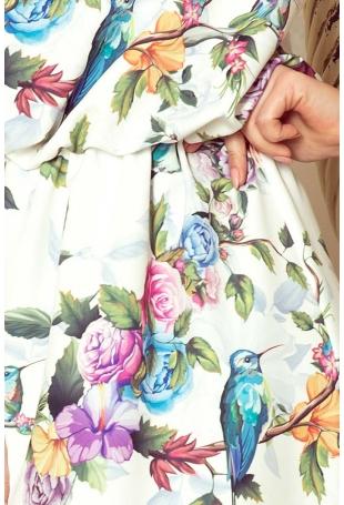 Biało Różowa Maxi Sukienka Wiązana na Szyi w Kwiaty
