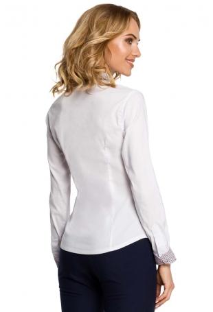 Biała Klasyczna Koszula z Podwójnym Kołnierzykiem