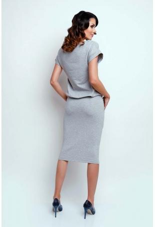 Szara Nowoczesna Sukienka Midi z Krótkim Rękawkiem
