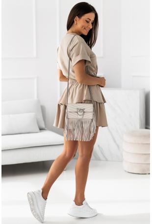 Komplet Dresowy Bluzka + Spódniczka - Beżowy
