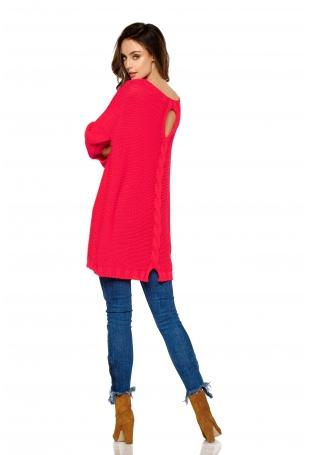 Malinowy Luźny Dłuższy Sweter z Warkoczem i Łezką