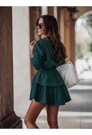 Komplet Bluza + Krótka Spódnica - Zielony