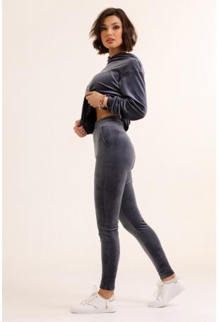 Szare Welurowe Dresy Komplet Bluza + Spodnie