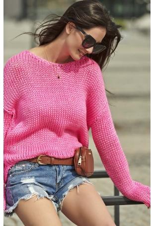 Różowy Ponadczasowy Sweter z Dekoltem w Serek