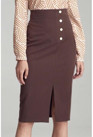 Brązowa Ołówkowa Midi Spódnica z Ozdobnymi Guzikami
