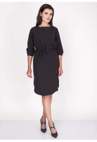 Czarna Sukienka Sportowa z Wiązanymi Troczkami