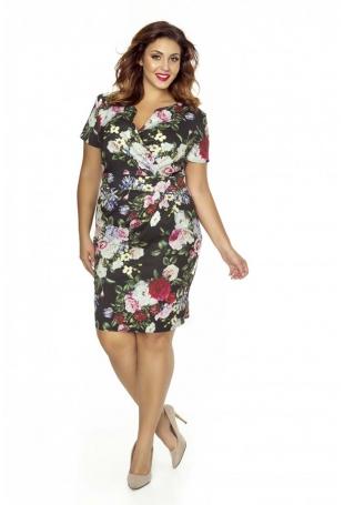 Elegancka Sukienka w Kwiaty Plus Size z Założeniem Kopertowym