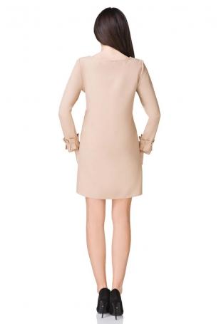 Beżowa Sukienka z Falbanką przy Rękawie