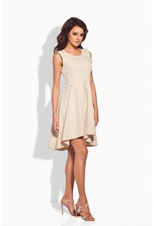 Rozkloszowana Asymetryczna Beżowa Sukienka