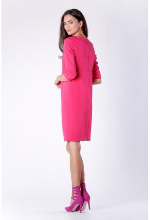 Wizytowa Krótka Różowa Sukienka z Zakładką na Przodzie
