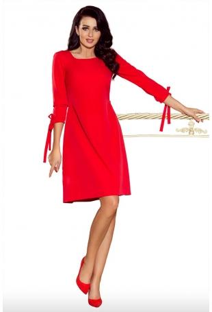Czerwona Sukienka z Kokardkami i Paskiem