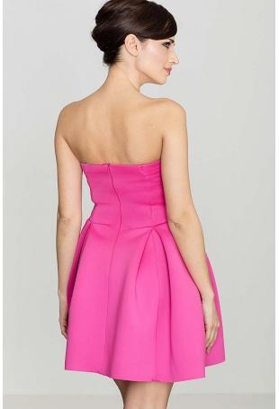 Różowa Wieczorowa sukienka Gorsetowa