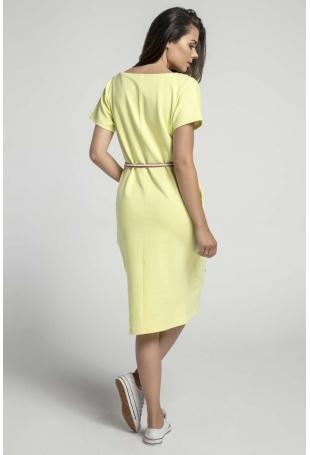 Limonkowa Prosta Sukienka Midi Przewiązana Kolorowym Sznurkiem