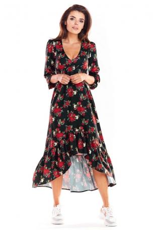 Czarna Asymetryczna Sukienka Midi z Florystycznym Motywem