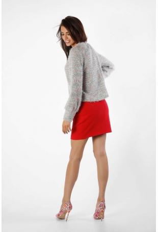 Różowy Luźny Sweter z Błyszcząca Nitką