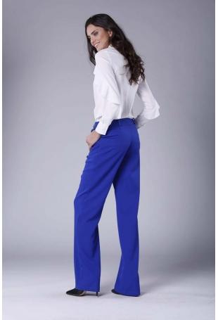 Chabrowe Eleganckie Spodnie z Prostymi Nogawkami.