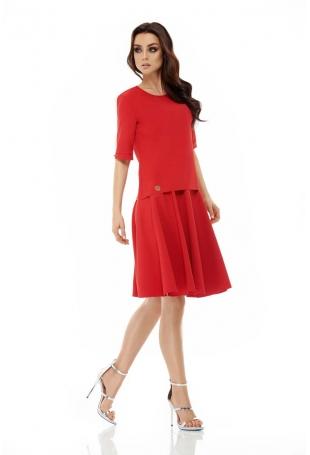 Czerwony Komplet Bluzka z Rozkloszowaną Spódnicą do Kolan