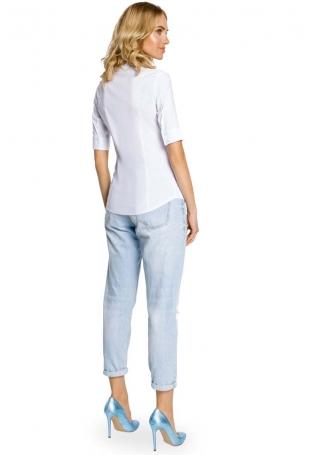 Klasyczna Koszula z Krótkim Rękawem -Biały