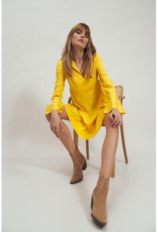 Lekka Sukienka z Falbankami - Żółta