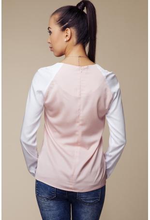 Dwubarwna  Bluzka z Długim Rękawem - Biały&różowy