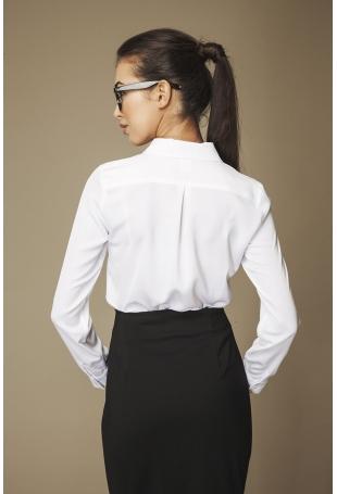 Biała Klasyczna Koszula ze Zdobionym Kołnierzykiem
