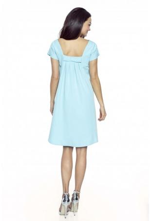 Błękitna Trapezowa Sukienka z Kokardką na Plecach