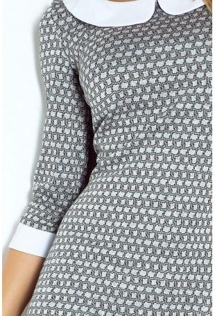Szara Sukienka Ołówkowa Żakardowa z Białym Kołnierzykiem