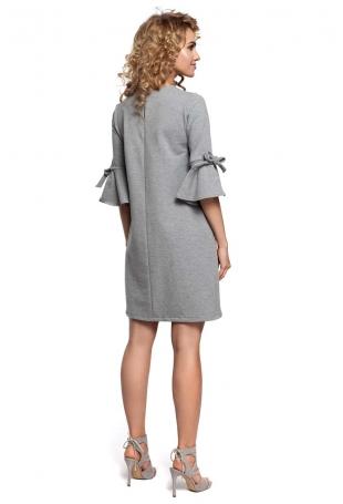 Szara Sukienka Trapezowa z Rozkloszowanymi Rękawami