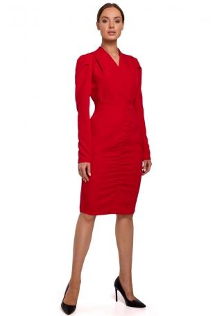 Czerwona Ołówkowa Sukienka z Marszczeniem na Spódnicy