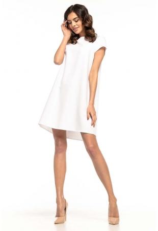 Biała Wizytowa Sukienka o Kroju Litery A z Kontrafałdą