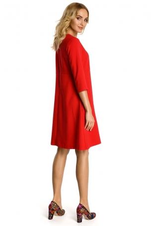 Czerwona Sukienka Trapezowa z Kontrafałdą
