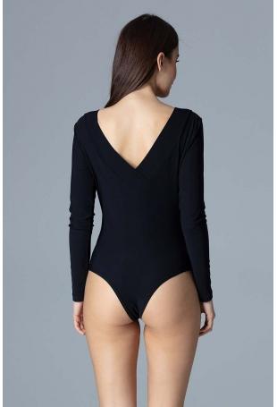 Czarne Eleganckie Body z Dekoltem V