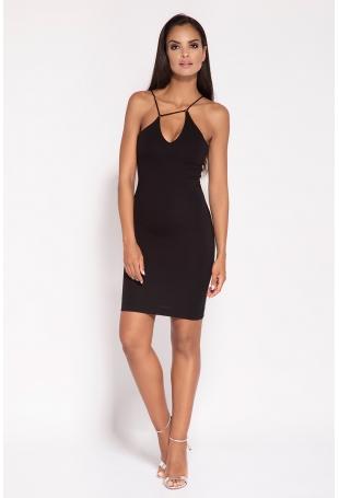 Czarna Sukienka na Cienkich Ramiączkach z Biżuteryjnym Akcentem