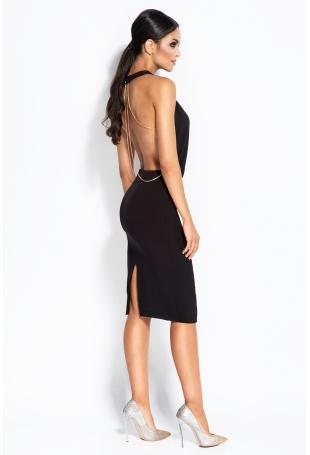 Czarna Sukienka Wieczorowa ze Złotym Łańcuszkiem na Plecach