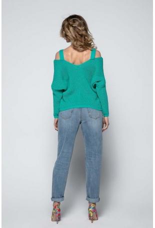 Zielony Lekki Nietoperzowy Sweter ze Zmysłowym Dekoltem