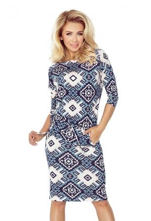 Granatowa Sukienka w Duże Romby Ściągana w Pasie