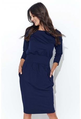 Granatowa Modelująca Sukienka z Podkreśloną Talią