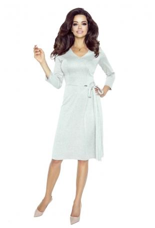 Beżowa Sukienka Midi z Kopertowym Wiązaniem na Boku