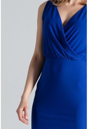 Kobieca Niebieska Sukienka przed Kolano z Założeniem Kopertowym