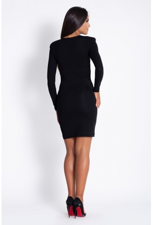 Czarna Dopasowana Koktajlowa Sukienka Ołówkowa z Długim Rękawem